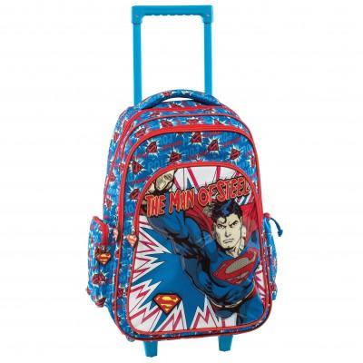 Mochila Escolar com Rodas Super-Homem